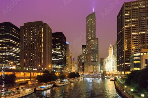 Fotobehang Chicago Chicago skyline at night, Chicago, Illinois, USA.