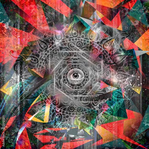 Canvas Reznik Рисованной магия красочный глаз на фоне Земли Земной шар