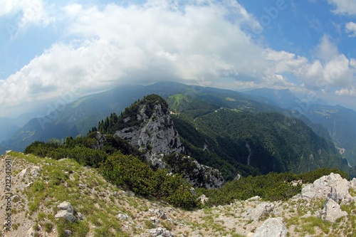wide panorama with mountain by fisheye lens in Italy - 212342041