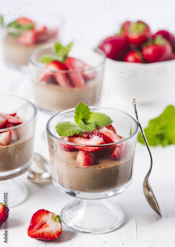 Wall mural Chocolate Panna Cotta with strawberries