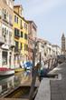 Rio San Barnaba, Dorsoduro, Venice, Veneto,  Italy with reflections in the canal