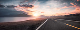 Lake and road  at sunset - 212352434