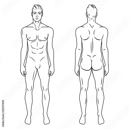 Man Full Body Front And Back View Template Vector Illustration Set