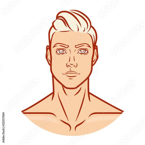 Man profile face. Vector portrait . - 212357864