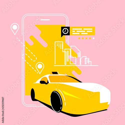 Plexiglas Auto taxi call app, cab service, mobile app, flat smartphone and isometric car vector illustration