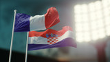 3D Illustration. Two national flags waving on wind. Night stadium. Championship 2018. Soccer. France versus Croatia - 212361243
