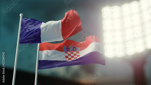 Leinwanddruck Bild 3D Illustration. Two national flags waving on wind. Night stadium. Championship 2018. Soccer. France versus Croatia
