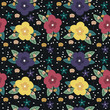 Seamless pattern with cute florals - 212362869