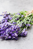 Lavender flowers, bouquet on rustic background, overhead. - 212372617
