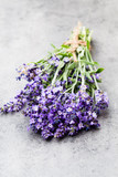 Lavender flowers, bouquet on rustic background, overhead. - 212372840