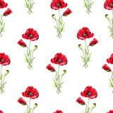 Floral seamless pattern with red poppies. Imitation of watercolor. Drawing with alcohol markers. - 212373260