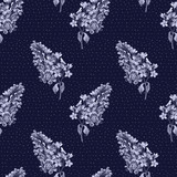 Floral seamless pattern with little flowers of lilac. Art by markers. Imitation of watercolor drawing. - 212373282