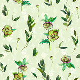 Floral seamless pattern with green Helleborus and twigs. Art by markers. Imitation of watercolor drawing. - 212373417