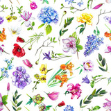 Multi-floral seamless pattern with different flowers. Bright and colorful illustration of a hydrangea, lilac, rose, orchid and other flowers on a white background. - 212373430