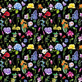 Multi-floral seamless pattern with different flowers. Bright and colorful illustration of a hydrangea, lilac, rose, orchid and other flowers on a black background. - 212373458