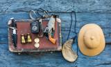 vintage hunter accessories, cork hunter's helmet, safari - 212374621