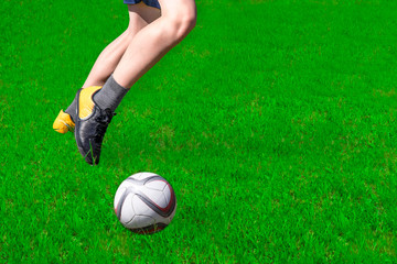 Football, Russia.Footballer in the game with ballom.Vision of the ball.
