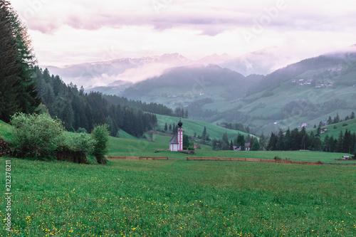 Plexiglas Khaki Nature and Mountains in the Dolomites, Italy