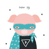 Super pig kids graphic. Vector hand drawn illustration. - 212380876