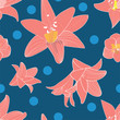 vector seamless pattern floral flower. amaryllis modern wallpaper. contemporary trendy arty. - 212381284