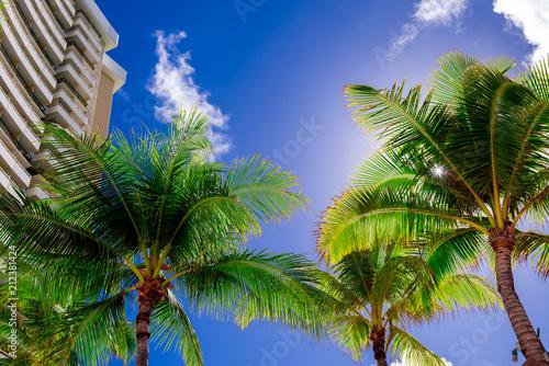 ハワイの空とビーチ