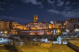 ruins of Trajan's Forum and Market in Rome at night