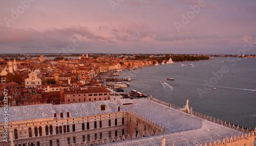Fotobehang Lavendel Aerial panorama of Venice at sunset