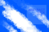 Vector illustration of light clouds in blue sky. Abstract backdrop with realistic cloud motif. - 212394814