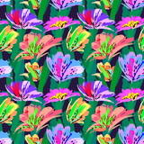 Floral painting seamless pattern. Free hand colorful background with botanical motif. Hand drawn artistic background. - 212394881