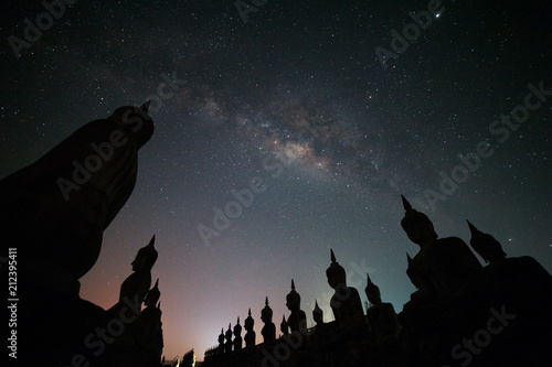 Aluminium Boeddha Big Buddha statue with milky way galaxy in Nakhon si thammarat Province, Thailand