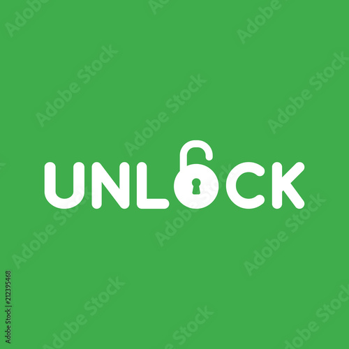 vector icon concept of unlock word with opened padlock on green background