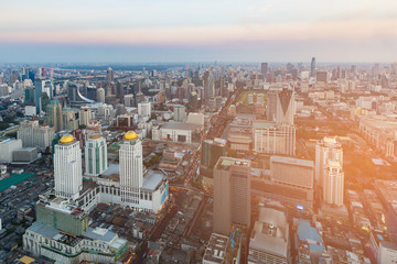 Bangkok city business downtown aerial view with skyline cityscape background