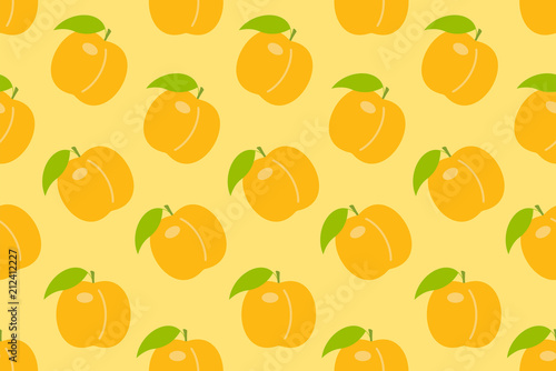 Seamless pattern with Orange peach. flat style. isolated on yellow background - 212412227