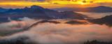 spectacular, fairytale sunset over the mountains, floating mist highlighted by the setting sun, Pieniny, Slovakia