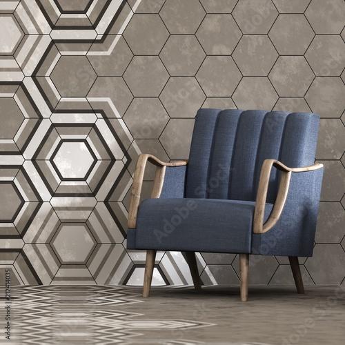 3d odpłacają się beżowy wnętrze z heksagonalnym panelu wzorem na ścianie i karle