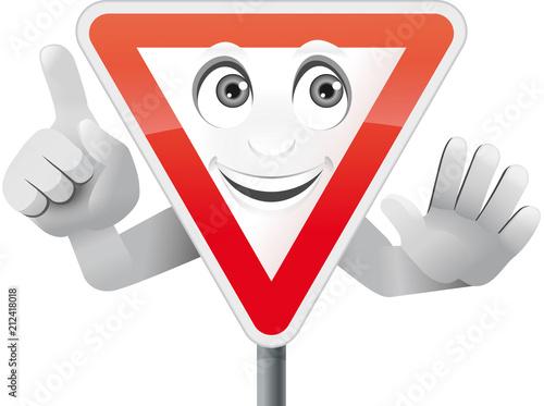 Verkehrszeichen Vorfahrt beachten mit Gesicht und Händen
