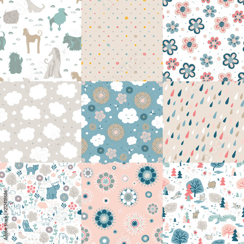 Funny and cute cloud, flowers, dogs. 9 different seamless patterns.