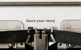 Text Share your story typed on retro typewriter - 212419414