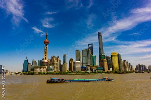 Plexiglas Shanghai Shanghai Skyline mit dem Hongzhu River
