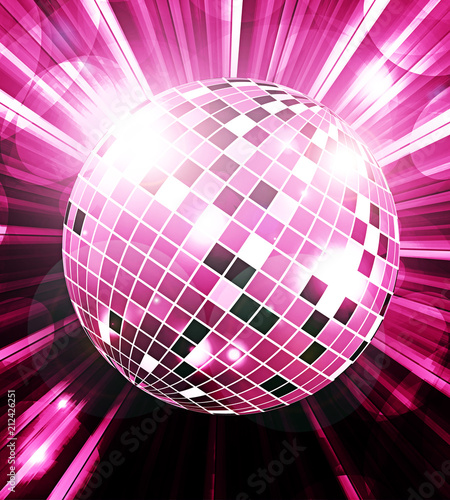 Naklejka Disco ball party background with rays