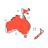 Cartoon Australia and Oceania map icon in comic style. Australia and Oceania illustration pictogram. Country geography sign splash business concept. - 212428206