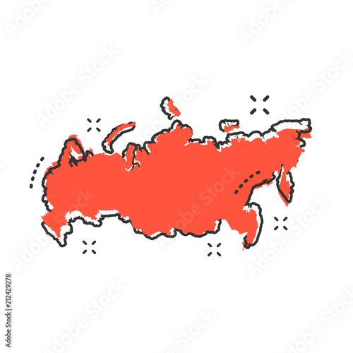 Fototapeta Cartoon Russia map icon in comic style. Russian Federation illustration pictogram. Country geography sign splash business concept.