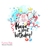 Greeting holidays illustration. Watercolor cartoon pig with birthday lettering and confetti. Funny dessert. Party symbol. Gift. Perfect for T-shirts, invitations, cards, phone cases. - 212440262