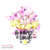 Greeting holidays illustration. Watercolor cartoon pig with lettering and confetti. Funny quote. Party symbol. Gift. Perfect for T-shirts, invitations, cards, phone cases. - 212440296