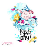 Greeting holidays illustration. Watercolor cartoon pig with lettering and cream. Funny dessert. Party symbol. Gift. Perfect for T-shirts, posters, invitations, phone cases. - 212440403