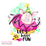 Greeting holidays illustration. Watercolor cartoon pig with weekend lettering and donut. Funny quote. Party symbol. Gift. Perfect for T-shirts, invitations, cards, phone cases. - 212440419