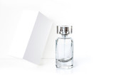 Perfume bottle  and  white packaging box  - 212441270