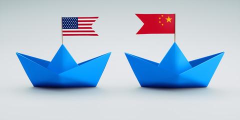 Handelskrieg USA China Papierschiffchen