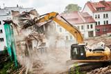 excavator crasher machine at demolition on construction site - 212446071