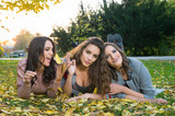 three girlfriends lying on the grass in a park in autumn - 212447678